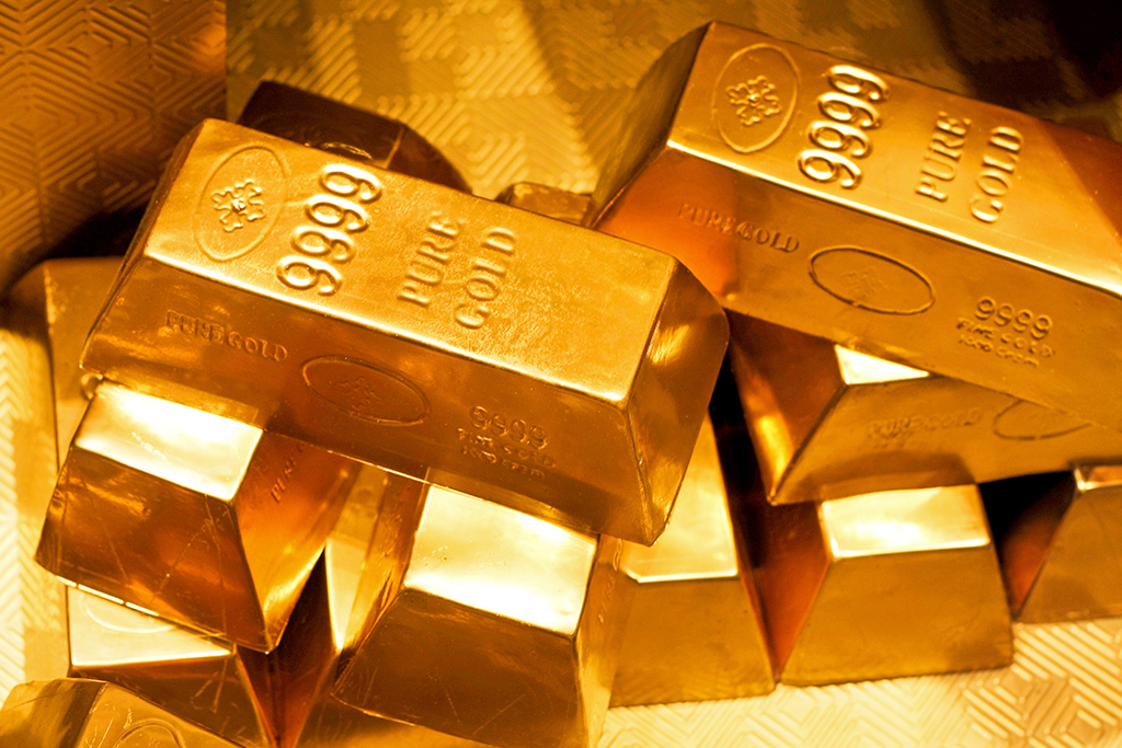 Close up shot of pure gold bars