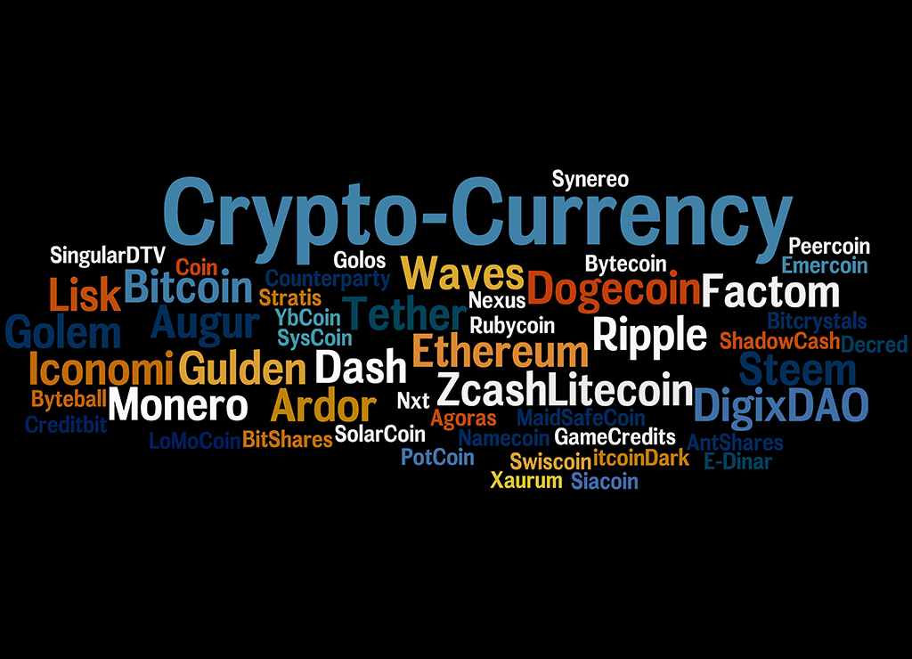 Crypto-Currency, word cloud concept on black background.